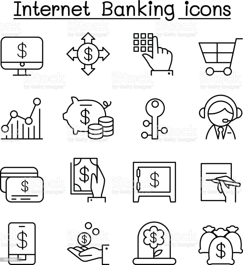 Internet banking icon set in thin line style vector art illustration