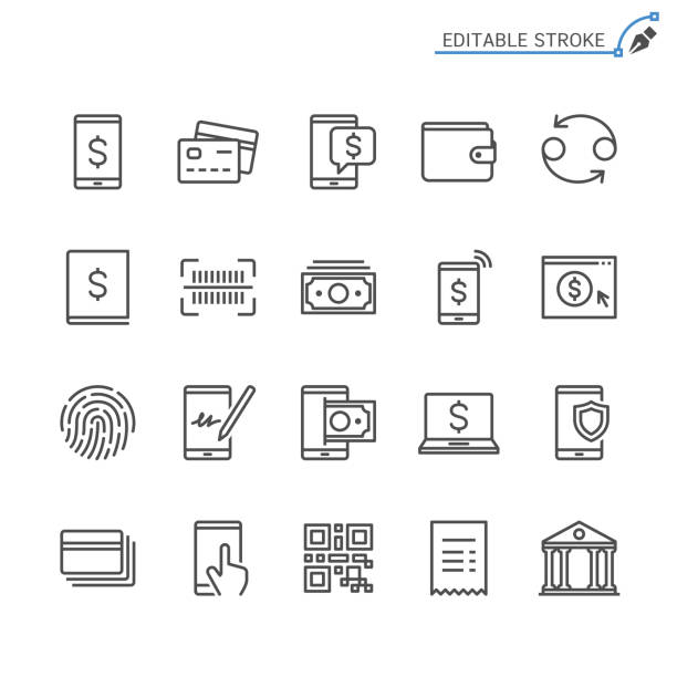 internet banking line icons. editable stroke. pixel perfect. - bank stock illustrations