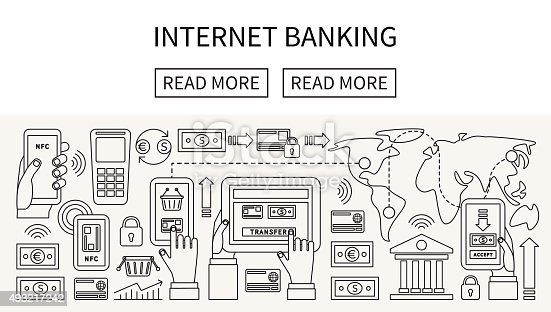 Internet online banking and mobile payments. Linear flat design vector.