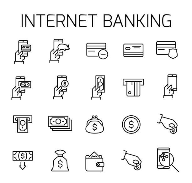 ilustrações, clipart, desenhos animados e ícones de internet banking relacionados vector conjunto de ícones. - mobile