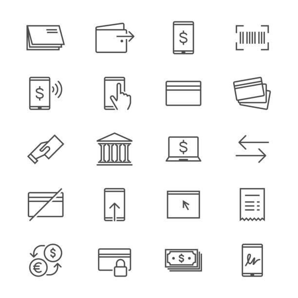 Internet-banking-dünne Symbole – Vektorgrafik