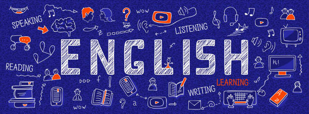 illustrazioni stock, clip art, cartoni animati e icone di tendenza di internet banner about learning english language: white outline icons, symbols, signs on blue background. line art illustration: learners, book, dictionary, speaking, reading, writing, listening skills - english