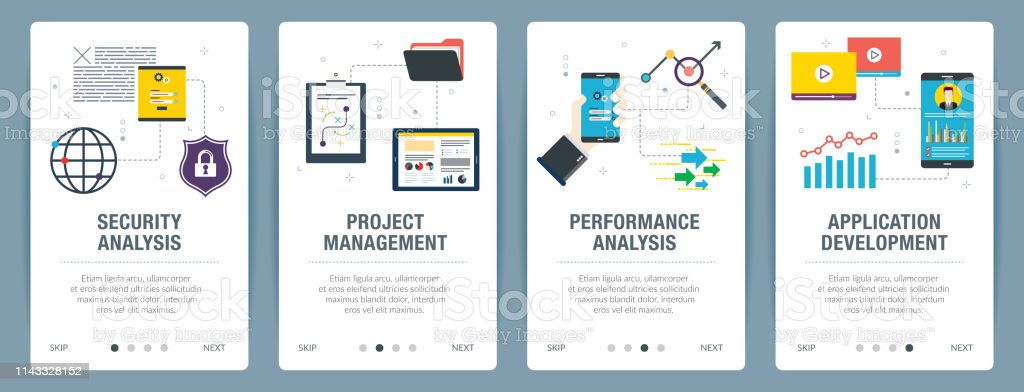 Internet Banner Set Of Security Project Management Performance And Application Icons Stock Illustration Download Image Now Istock