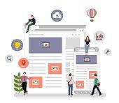 Internet browser , online network , global communication / flat vector illustration