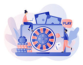 Internet Casino and Gambling Concept. Tiny people gaming online gambling games. People play online Roulette. Modern flat cartoon style. Vector