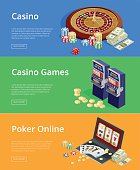 Internet casino games, online poker rooms, slot machines flat illustration concepts set. Modern flat design concepts for web banners, web sites, printed materials, infographics