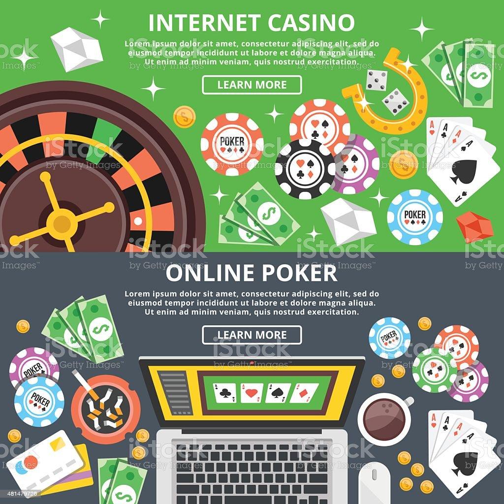 Internet casino, online poker flat illustration concepts set vector art illustration