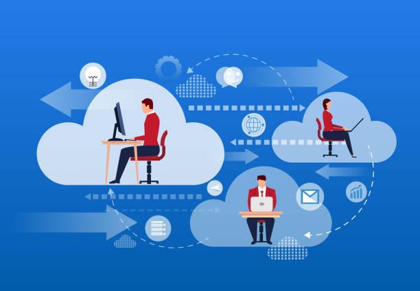 ilustraciones, imágenes clip art, dibujos animados e iconos de stock de nube internet planificación y trabajo - informática en la nube