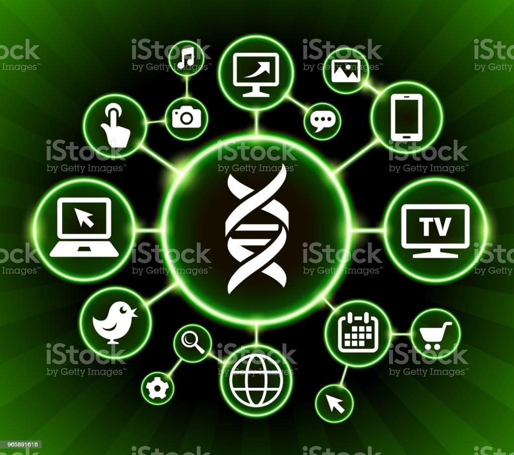 DNA Internet communicatie technologie donkere knoppen achtergrond - Royalty-free Achtergrond - Thema vectorkunst