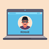 internet computer fraud. criminal in a laptop monitor. flat vector illustration.
