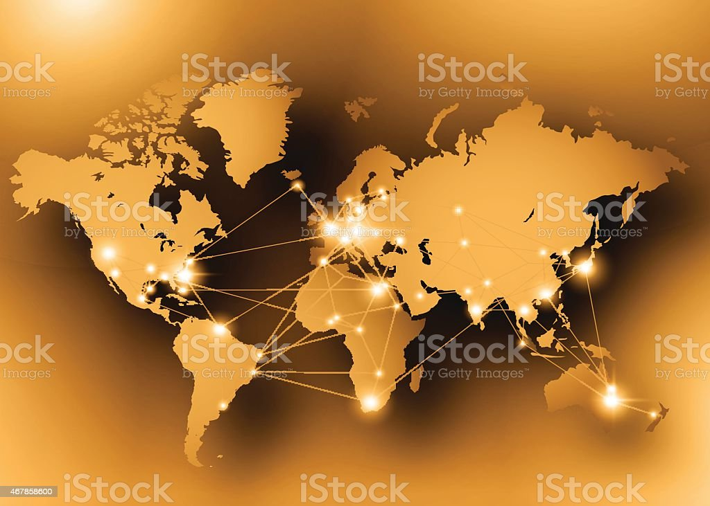 Internet concept with glowing dots on a gold world map stock vector internet concept with glowing dots on a gold world map royalty free internet concept with gumiabroncs Gallery