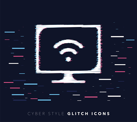 Internet Connection Glitch Effect Vector Icon Illustration