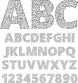 Internet connections circuit board vector font design. This royalty free vector illustration offers a custom designed Internet connections circuit board font. Each letter and number is unique and is a separate shape. The background is blank.