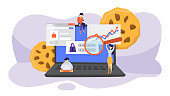 Internet cookies technology concept. Tracking website surfing. Cookies on background as metaphor. Flat vector illustration