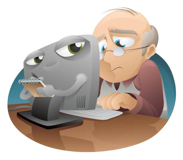 internet crime - old man glasses cartoon stock illustrations, clip art, cartoons, & icons