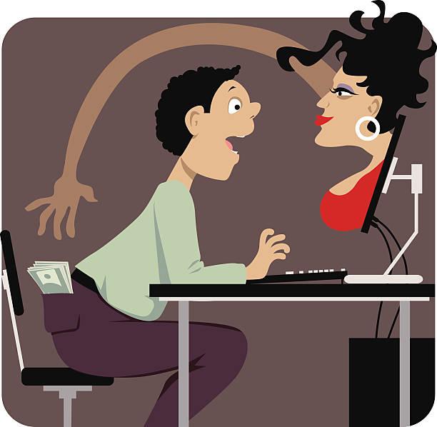 Internet dating scam vector art illustration