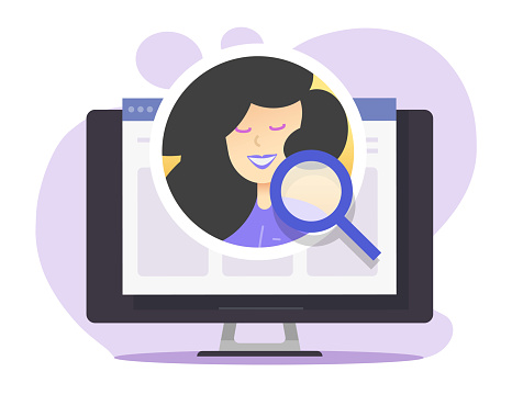 Internet digital recruitment concept vector, online web human resources analysis, search candidate icon flat cartoon, idea of person identification, inspection of website profile via magnifying glass