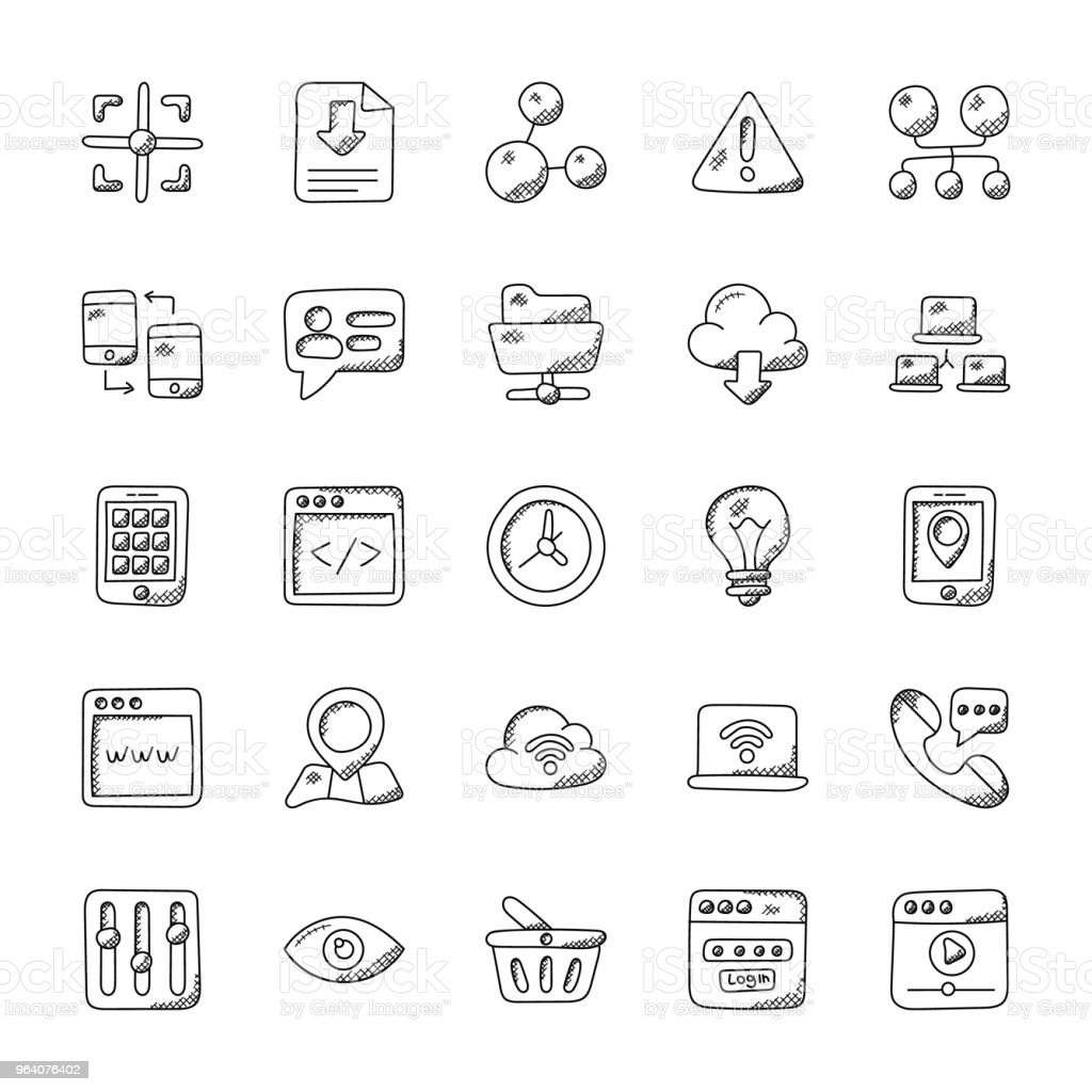 Internet Doodle Vector Icons Set - Royalty-free Clock stock vector
