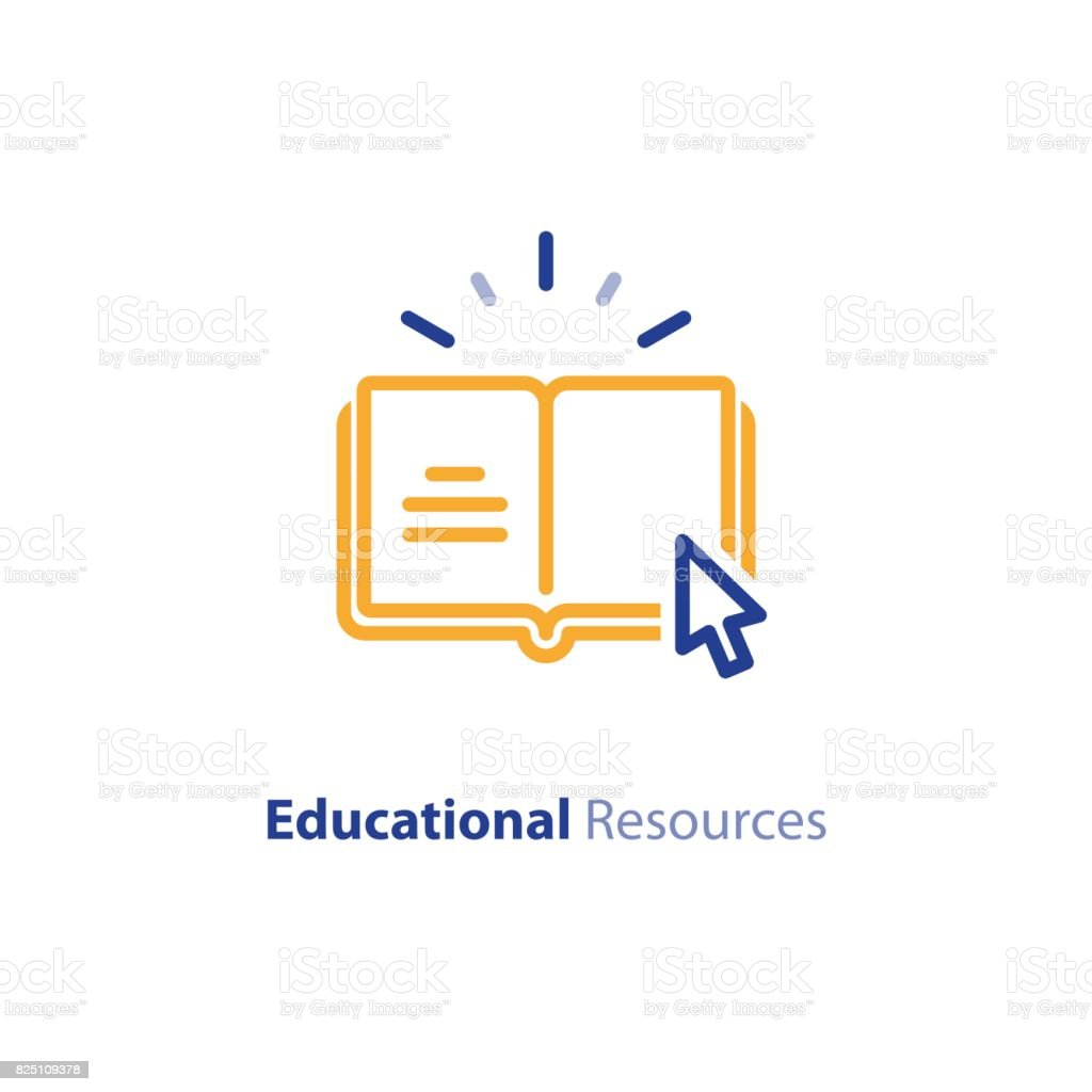 Internet educational resources, online learning courses, open library, dictionary line icon vector art illustration