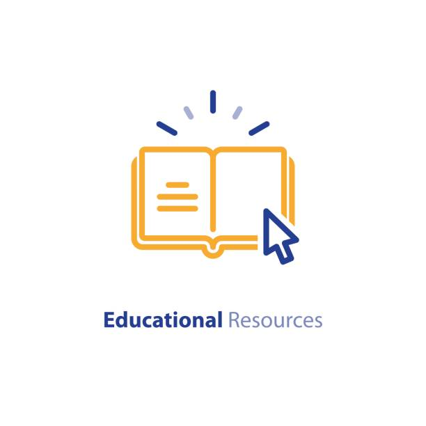internet educational resources, online learning courses, open library, dictionary line icon - online learning stock illustrations