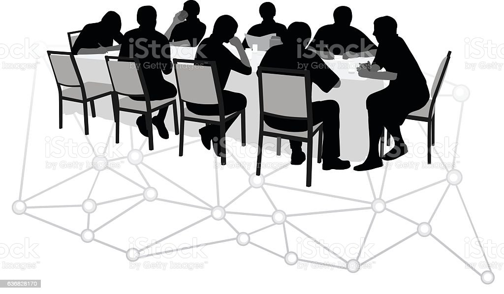 Internet Executive Discusion vector art illustration