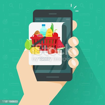 Internet food delivery or order via mobile phone vector illustration, flat cartoon hand with cellphone and food products on message screen, concept of web menu or recipe online
