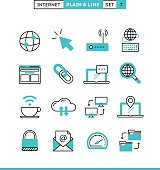 Internet, global network, cloud computing, free WiFi and more. Plain and line icons set, flat design, vector illustration