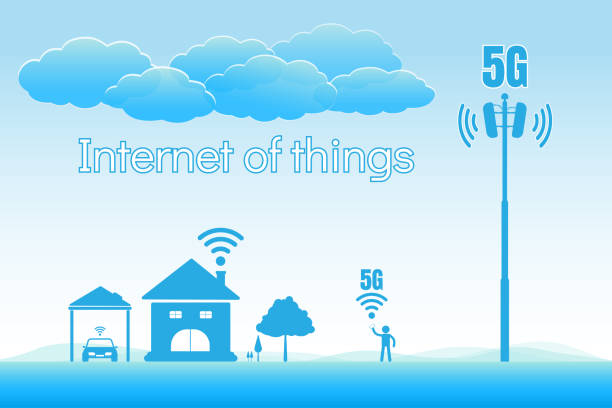 5G internet high speed concept, internet of things vector art illustration