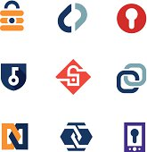 Internet home secure lock security system technology logo icons.