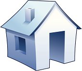 """""""Internet homepage"""" symbol - detailed icon of simple blue house"""