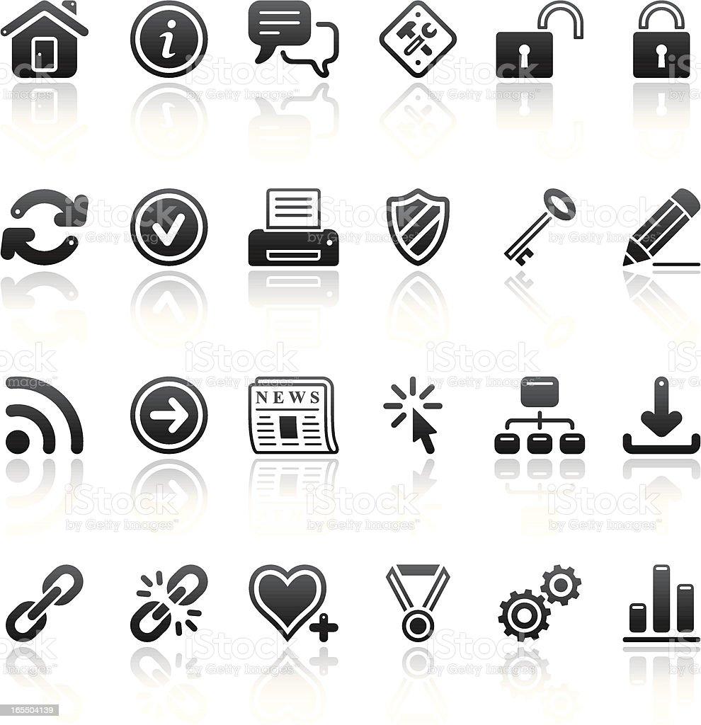 internet icon set black reflection royalty-free stock vector art