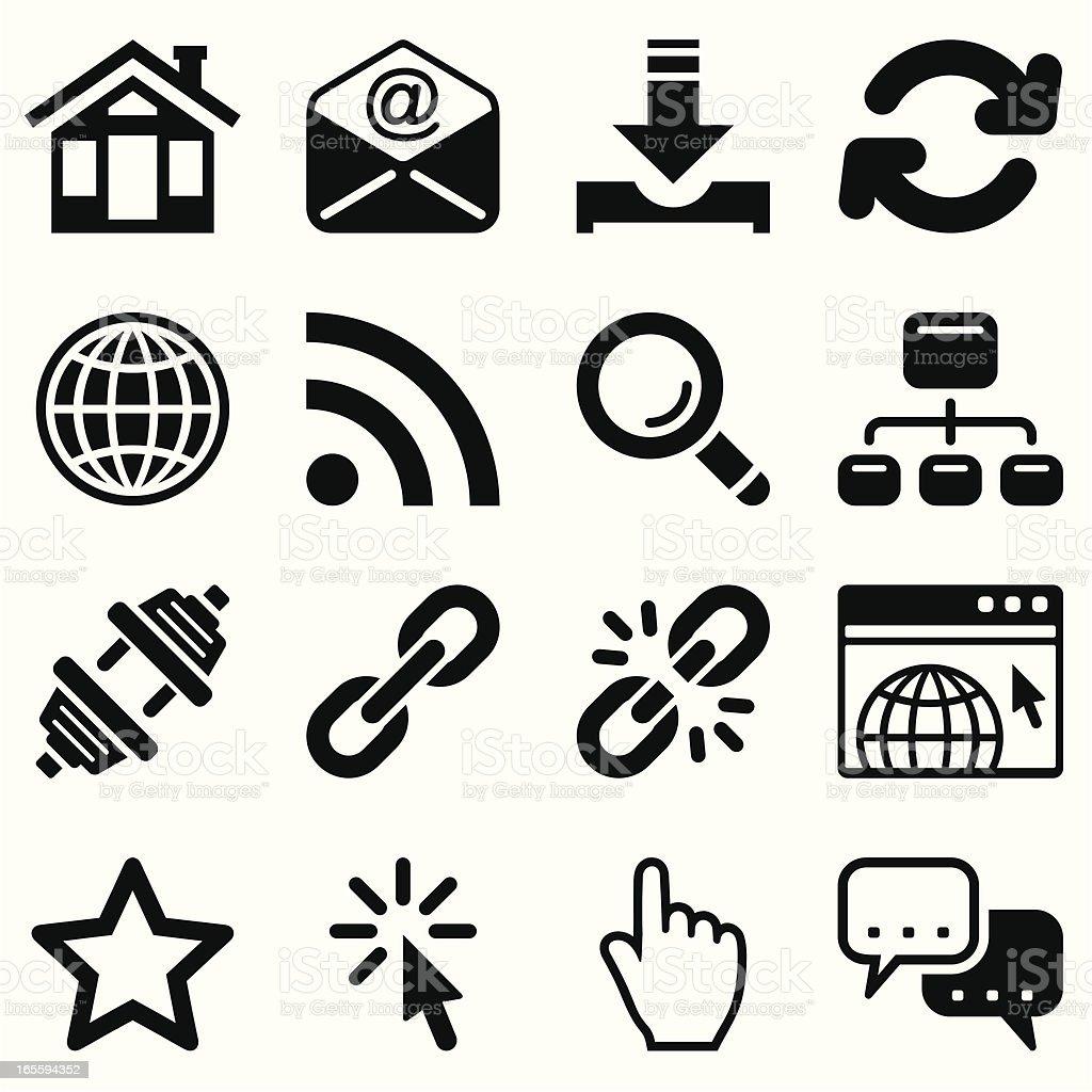 internet icon set black royalty-free stock vector art