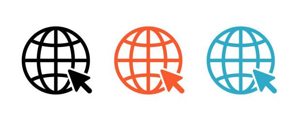 illustrazioni stock, clip art, cartoni animati e icone di tendenza di set di icone internet disegnato con una linea - internet