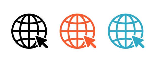internetsymbolsatz, der mit einer linie gezeichnet wird - internet stock-grafiken, -clipart, -cartoons und -symbole