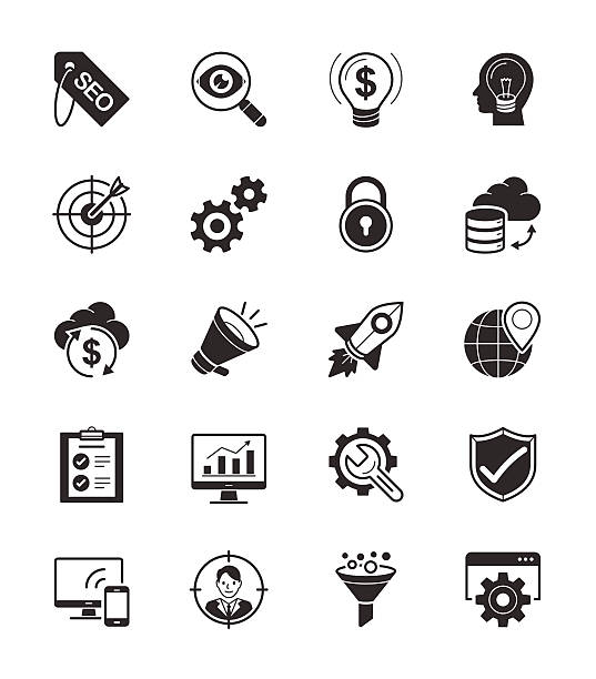 stockillustraties, clipart, cartoons en iconen met seo & internet icon set on white background vector illustration - orthografisch symbool