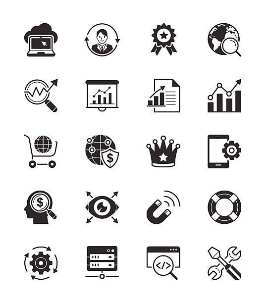stockillustraties, clipart, cartoons en iconen met seo & internet icon set on white background vector illustration - 2015