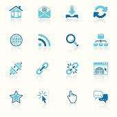 internet icon set sky reflection