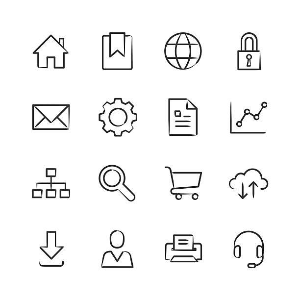 Internet Icons — Sketchy Series vector art illustration