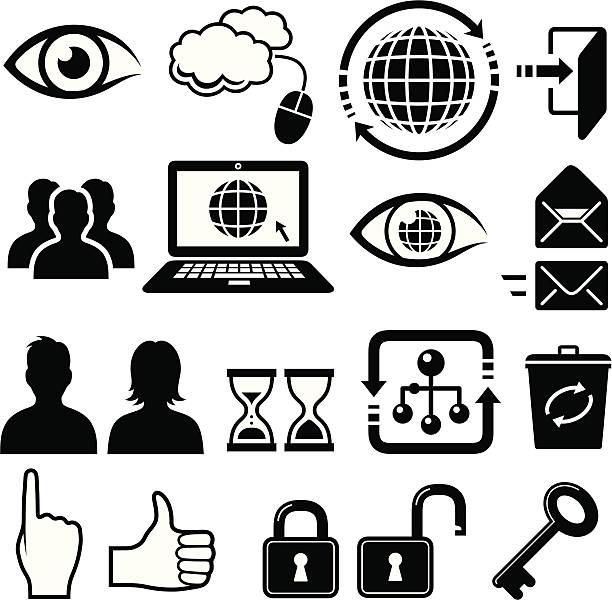 ilustrações de stock, clip art, desenhos animados e ícones de ícones da internet - going inside eye