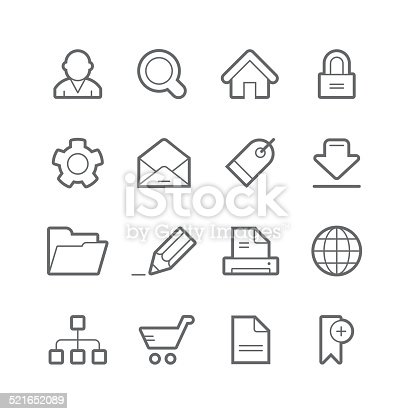 16 internet icons. High resolution PNG with transparent background included.