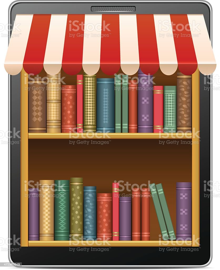 Internet library vector art illustration