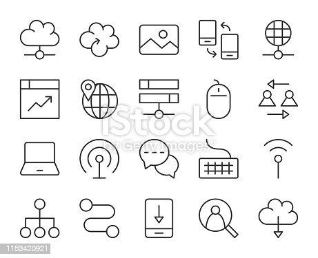 Internet Light Line Icons Vector EPS File.