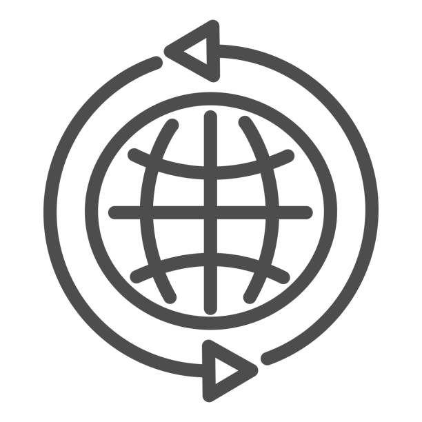 stockillustraties, clipart, cartoons en iconen met pictogram internetlijn. globaal web, aardebol met vorm rond pijlensymbool, pictogram van de overzichtsstijl op witte achtergrond. het teken van de technologie voor mobiel concept en webontwerp. vectorafbeeldingen. - breed