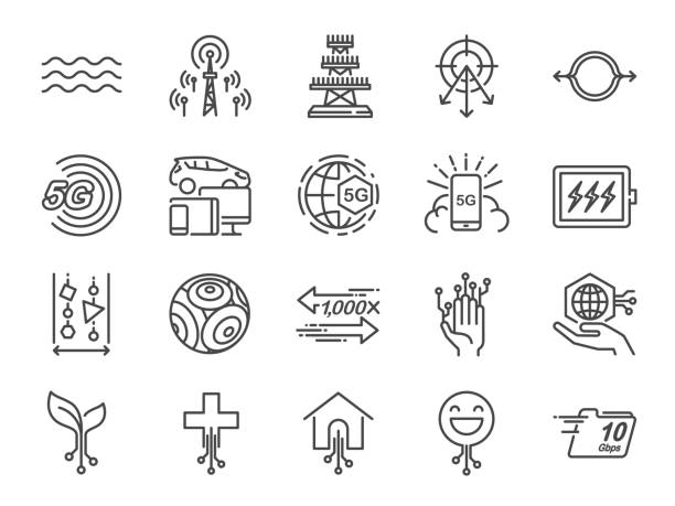 5G internet line icon set. Included icons as IOT, internet of things, bandwidth, signal, devices and more. vector art illustration