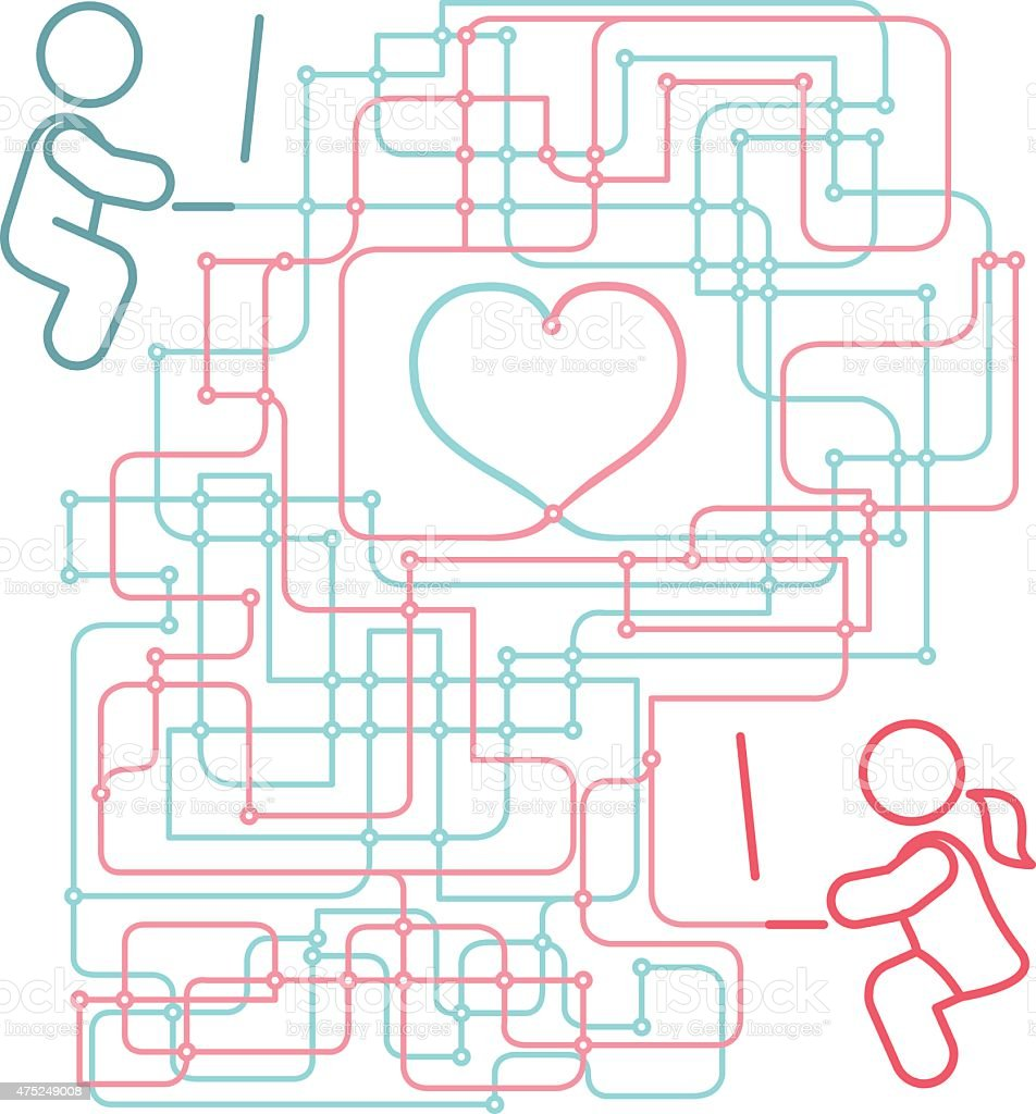Internet Long Distance Relationship vector art illustration