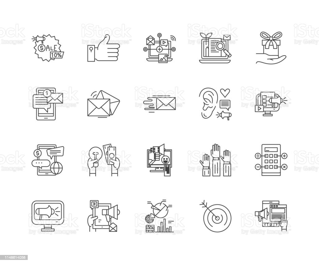 Internet Marketing Agency Line Icons Signs Vector Set Outline