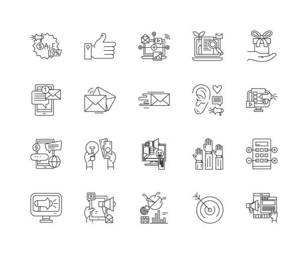 ilustrações, clipart, desenhos animados e ícones de linha ícones da agência do mercado do internet, sinais, jogo do vetor, conceito da ilustração do esboço - mobile