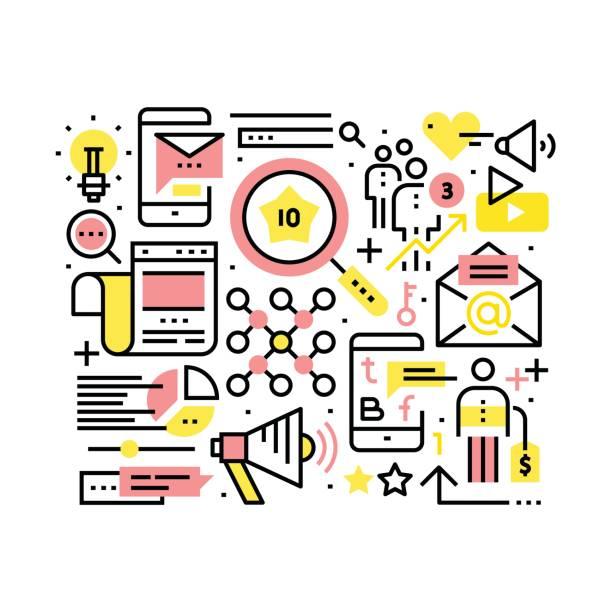 Internet marketing and SEO concept - ilustração de arte vetorial
