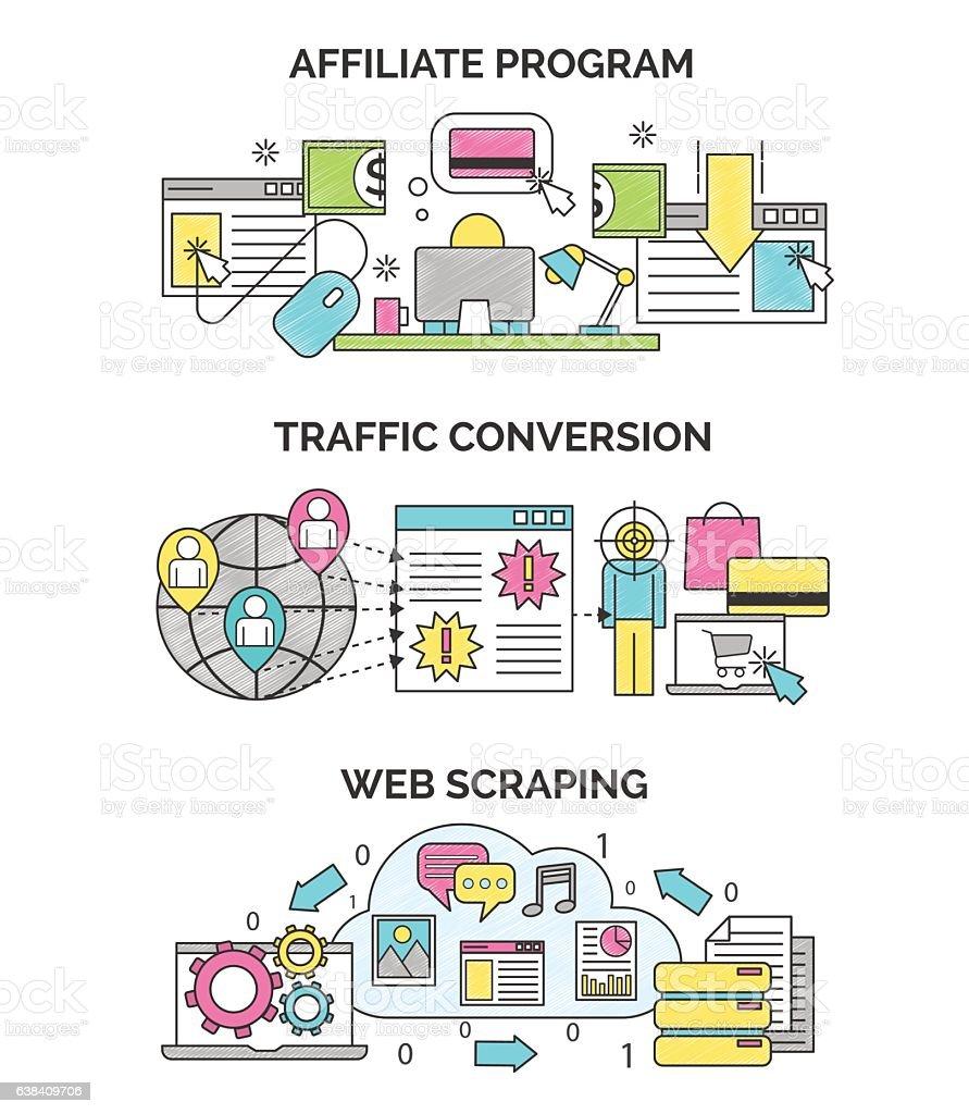 Internet marketing and seo illustrations vector art illustration