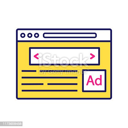 Internet marketing color icon. Display ads. Contextual advertising. Online targeted advertising. Native advertisement. Website, webpage. Isolated vector illustration